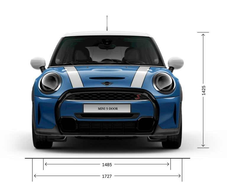 MINI 5 puertas Hatch – vista frontal – dimensiones